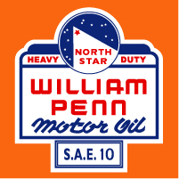 "North Star/William Pen Motor Oil Decal @ 12"" Tall, $30.00 Each"